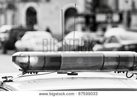Police Alarm System In Monochrome Tones