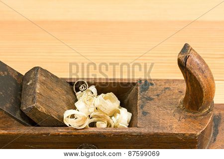Old Wooden Plane On Wooden Background
