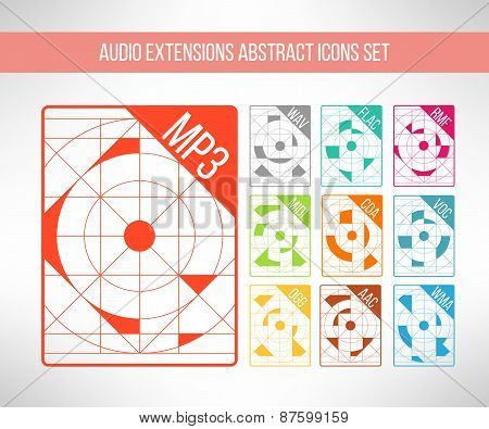 Audio format icons set im modern abstract geometrical clean design. Music signs. Vector illustration