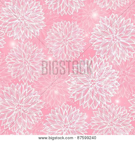 Seamless pattern with flowers Dahlia.