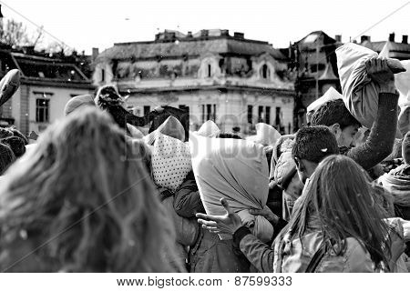 Budapest, Hungary - April 04:pillow Fight Day On Heroes Square  In Budapest, Hungary On April 04, 20