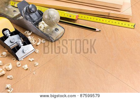 Carpenter Workplace With Tools