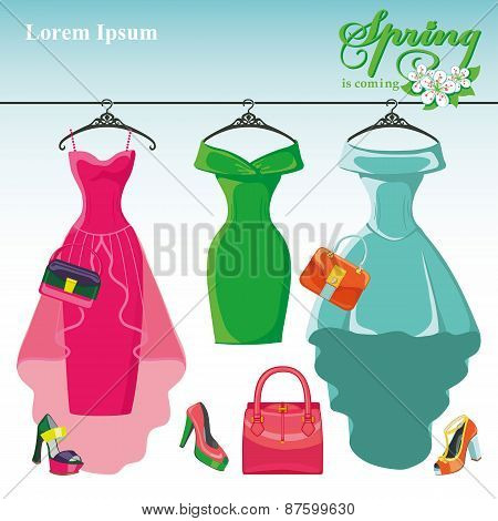 Three spring  dresses on a hanger.Fashion illustration