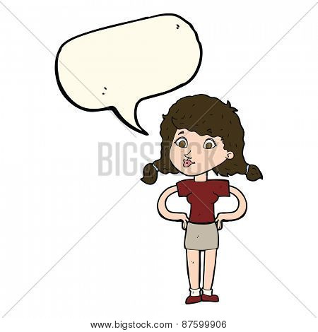 cartoon pretty girl with hands on hips with speech bubble