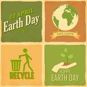 pic of save earth  - illustration of Earth Day background in retro style - JPG