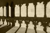 picture of arcade  - Romanesque arcade with columns and shadows in Olite - JPG