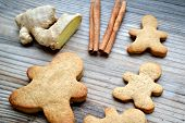 picture of ginger man  - Gingerbread cookies in shapes of heart - JPG