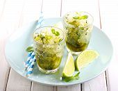 pic of gelato  - Lime and mint granita in glasses on plate - JPG