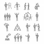image of hierarchy  - Business people characters team meeting partnership corporate hierarchy icons sketch set isolated vector illustration - JPG