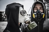 foto of gas mask  - Two Vietnamese men wearing gas - JPG