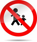 stock photo of restriction  - Sign no people and child - JPG