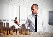 stock photo of structural engineering  - Engineer builds in his office plastic urban - JPG