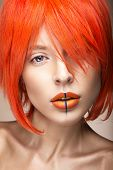 pic of wig  - Beautiful girl in an orange wig cosplay style with bright creative lips - JPG