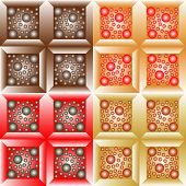 foto of quadrangles  - Seamless patterns from a set of colored squares with balls - JPG