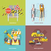 picture of heavy equipment  - Road worker design concept set with heavy repair equipment flat icons isolated vector illustration - JPG