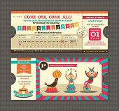 foto of kawaii  - Birthday card with Circus Ticket pass design Template - JPG