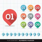 foto of gps  - Numbers Pin Marker Flat Icons with long shadow Set for GPS or Map - JPG