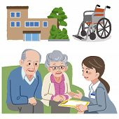 foto of geriatric  - Elderly couple consults with Geriatric care manager - JPG