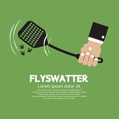 picture of gnats  - Flyswatter In Hand Vector Illustration - JPG