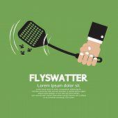 stock photo of gnat  - Flyswatter In Hand Vector Illustration - JPG