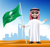 picture of saudi arabia  - 3D Handsome Saudi Arab Man in Traditional Dress With Shades Stand Holding National Flag of Saudi Arabia with Famous Buildings at the Back of Desert - JPG