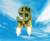 money symbol with rocket nozzles
