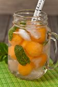 picture of cantaloupe  - Cantaloupe Melon and Mint Lemonade - JPG