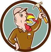 foto of clutch  - Illustration of a wild turkey builder holding clutching hammer looking to the side set inside circle done in cartoon style on isolated background - JPG