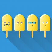 image of popsicle  - Cute Ice cream popsicles on blue background vector illustration - JPG