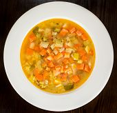 picture of vegetable soup  - Minestrone Vegetable Soup made of meat broth - JPG