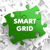 stock photo of grids  - Smart Grid on Green Puzzle on White Background - JPG