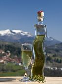 foto of liquor bottle  - shaped bottle full of liquor and the glass with mountains in the background  - JPG