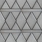 image of slab  - Gray Paving Slabs Built of Rhombuses and Rectangles - JPG