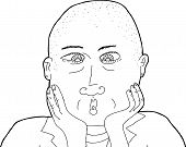 image of shaved head  - Outline illustration of surprised lady with shaved head - JPG