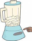 picture of blender  - Cartoon finger reaching for blender full of ice - JPG