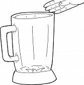 picture of blender  - Hand drawn hand over empty blender outline - JPG