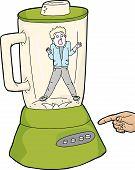 picture of blender  - Finger over blender button with scared person in jar - JPG