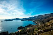 picture of sea-scape  - Beautiful landscape of Adriatic sea and mountains coast in Montenegro - JPG