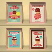 picture of ice cream parlor  - Vintage best in town Ice Cream menu card design for your corner or restaurant - JPG