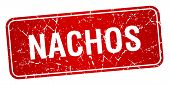 image of nachos  - nachos red square grunge textured isolated stamp - JPG
