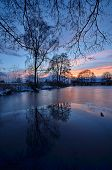 pic of dock a pond  - January quiet evening at the village pond under trees