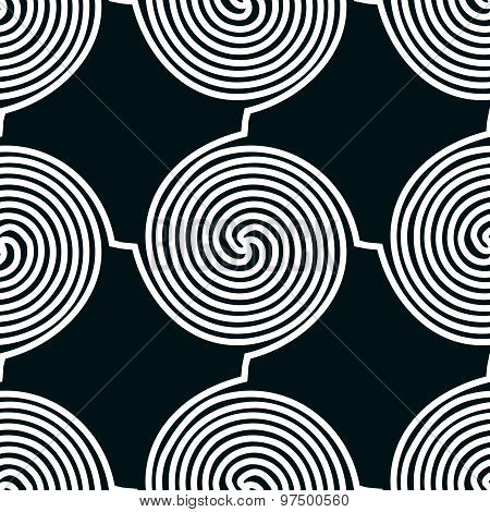 Lines seamless pattern, black and white vector background.
