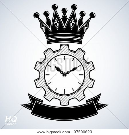 Vector retro cog wheel and clock with crown, business organizer symbol. Manufacturing process
