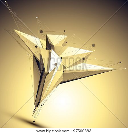 Complicated abstract gold 3D illustration, vector digital eps8 lattice object