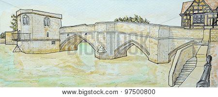 The historic packhorse bridge at St Ives