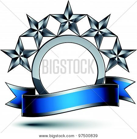 Heraldic vector template with five-pointed silver stars, 3d royal geometric medallion