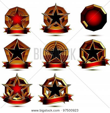Collection of geometric vector round glamorous golden elements, 3d polished stars isolated on white