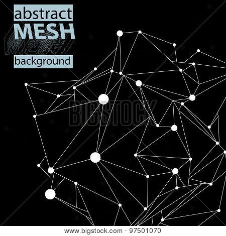 3D mesh modern stylish abstract background with asymmetric wireframe structure.