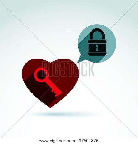 Heart, padlock and key conceptual icon. Unlock my heart, unlock your feelings, free your heart.