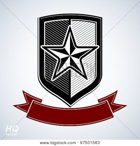 Vector shield with pentagonal star and decorative curvy ribbon, protection heraldic blazon.